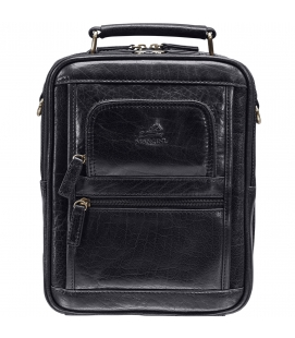 Large Unisex Bag with Zippered Rear Organizer – Black