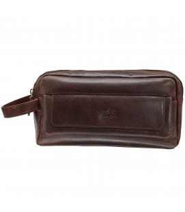Double Compartment Top Zipper Toiletry Kit - Brown