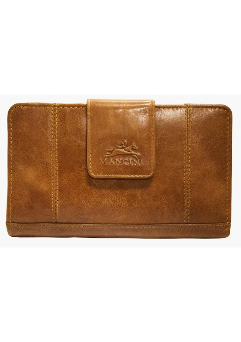 Ladies' RFID Secure Medium Clutch Wallet - Cognac - Image 1