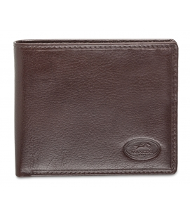Men's RFID Secure Center Wing Wallet with Coin Pocket - Brown