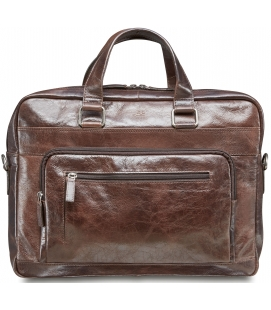 Single Compartment 15.6'' Laptop / Tablet Briefcase - Dark Brown