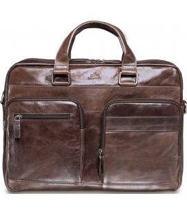Double Compartment 15.6'' Laptop / Tablet Briefcase - Dark Brown