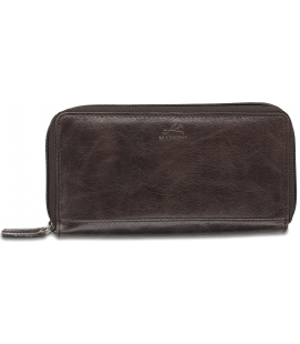 Ladies' RFID Secure Double Zipper Wallet – Dark Brown